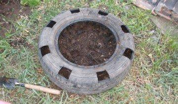 Фото подготовки шины для грядки, d-a.d-cd.net