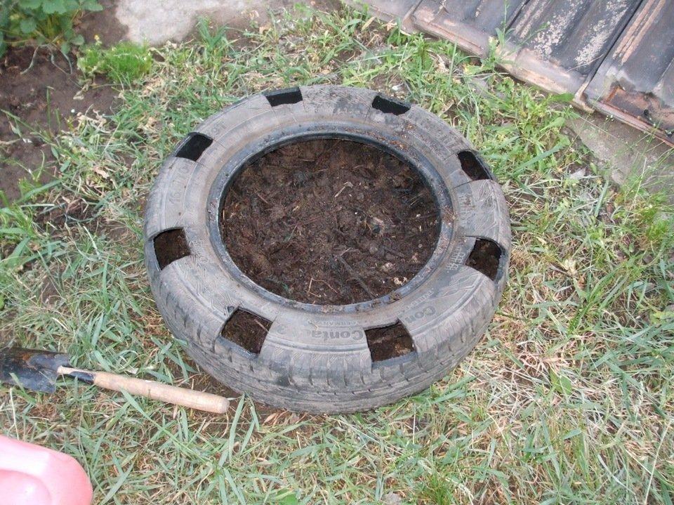 Выращивание клубники в шинах вертикально 91