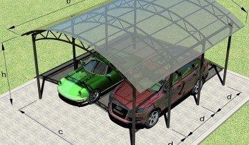 Схема навеса для машин из поликарбоната, strport.ru
