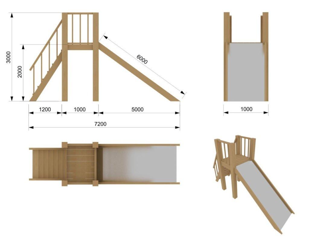 Схема деревянной горки
