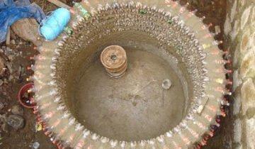 Бассейн с использованием пластиковых бутылок