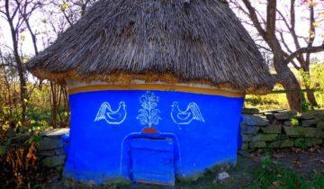 Курятник с соломенной крышей