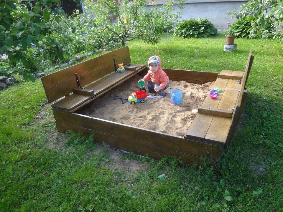 Как сделать песочницу с крышкой и сидением 378