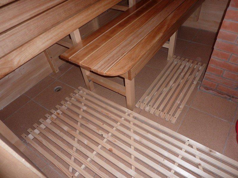 Пол из плитки в бане