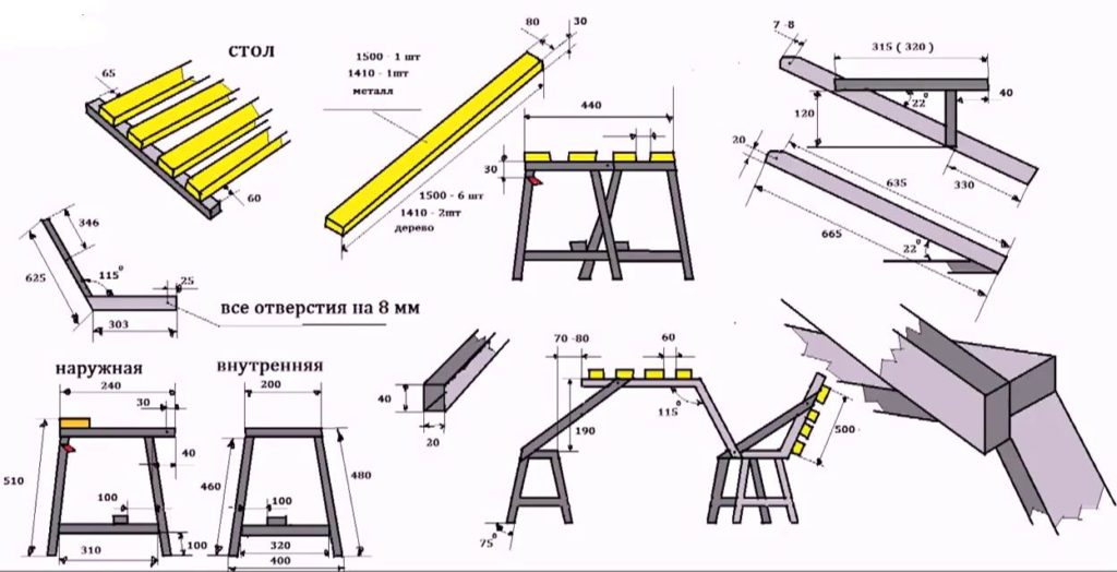 Чертёж металлической скамейки