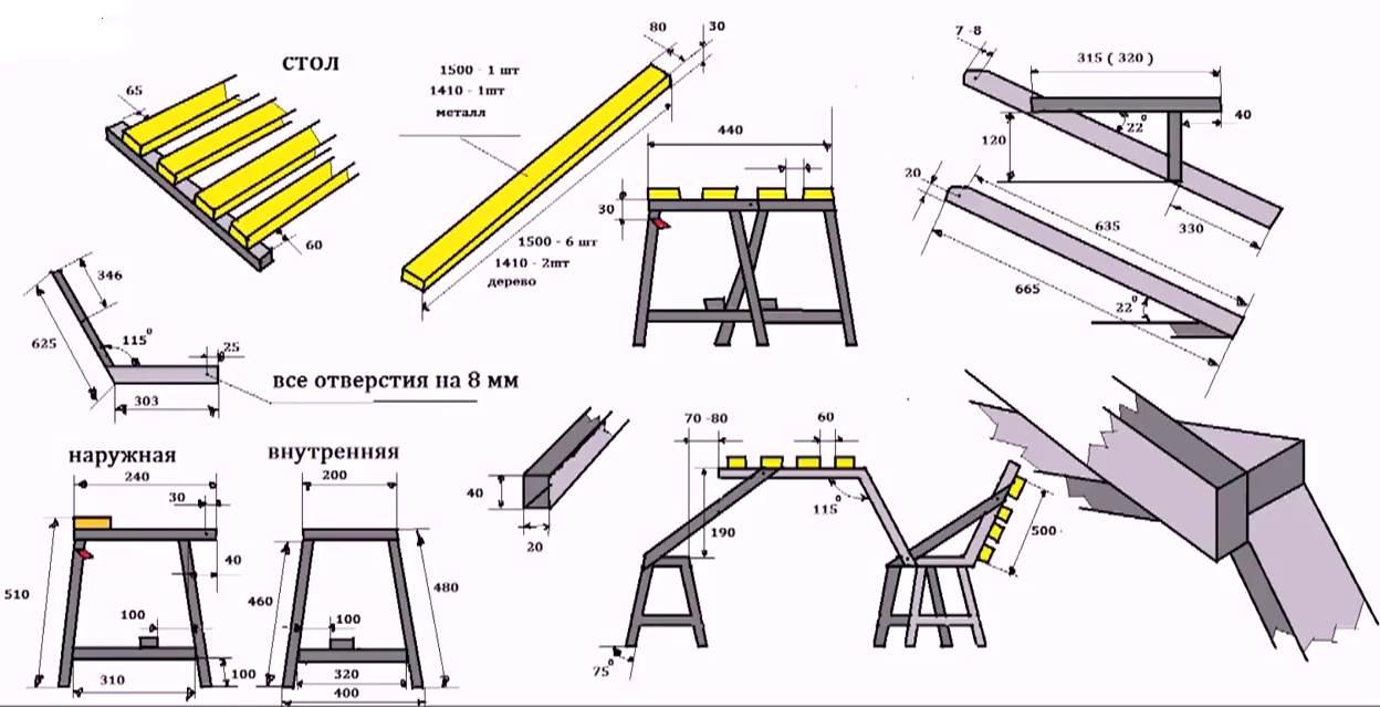 Как сделать складную скамейку чертежи