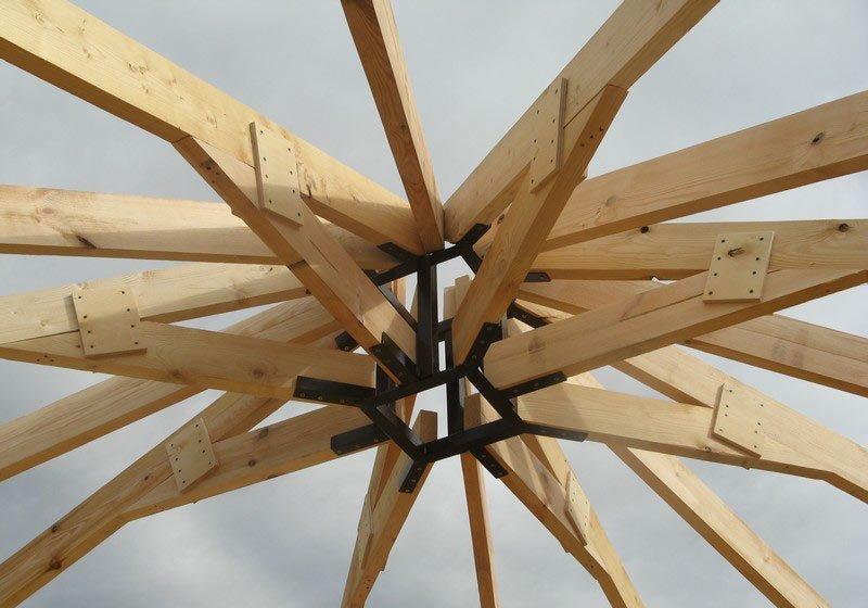 Установка каркаса крыши