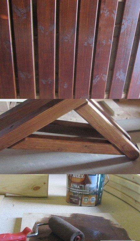 Окрашиваем элементы скамейки морилкой