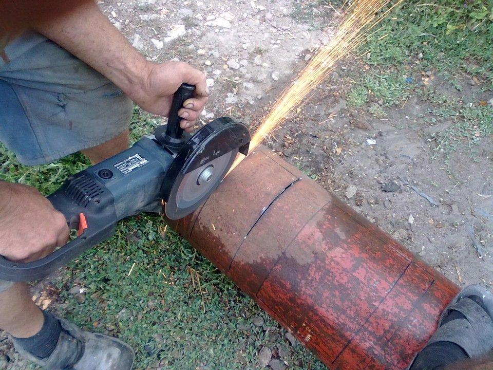 Вырезание крышек из корпуса баллонов