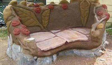 Лавочка из глины