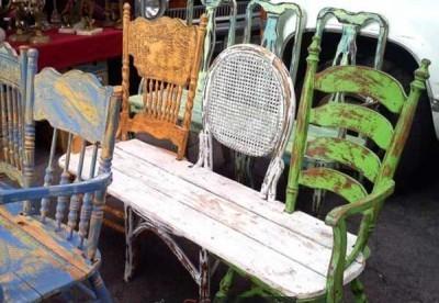 Ретро-лавочка из старых стульев