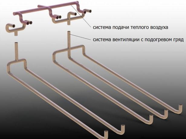 Схема расположения труб вегетария