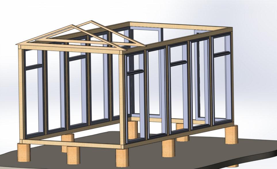Схема парника с двускатной крышей