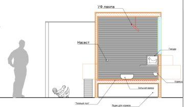 Схема закрытого курятника в соотношении с человеком