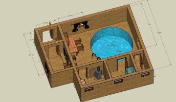 Проект бани с круглым бассейном