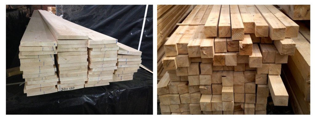 Обрезная доска и деревянный брусок