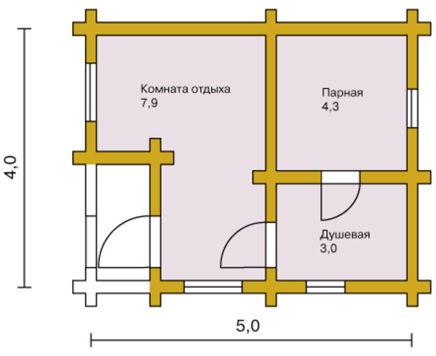 Проект каркасной бани 4х5 м