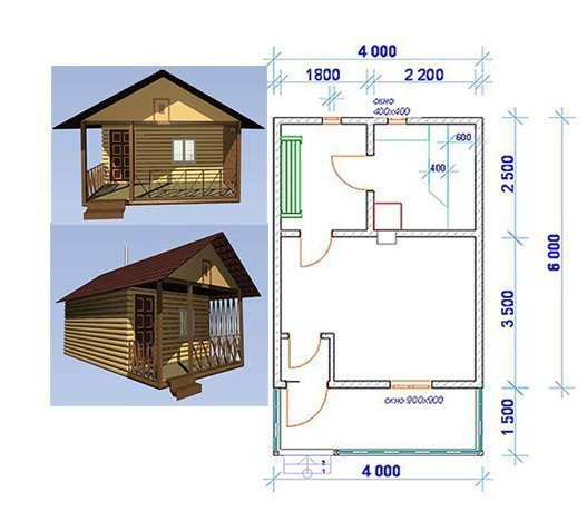 Схема бани 4х6 м