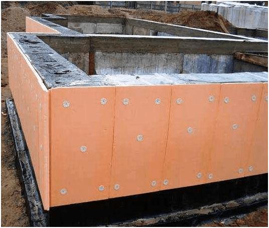 Утепление фундамента плитами