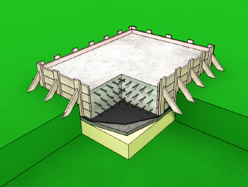 Заливка бетонного основания