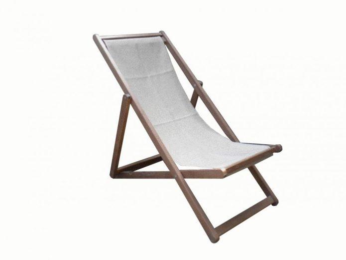 Деревянный раскладной шезлонг для дачи с сиденьем из ткани