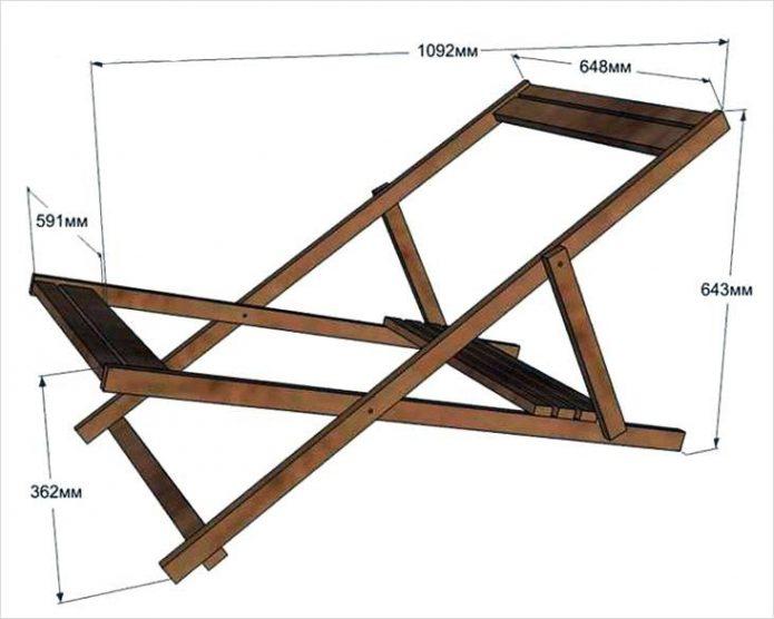 Схема и размеры каркаса шезлонга