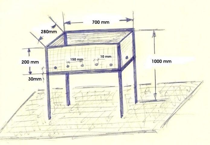 Чертёж металлического мангала длиной 70 см