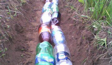 Траншея с бутылками
