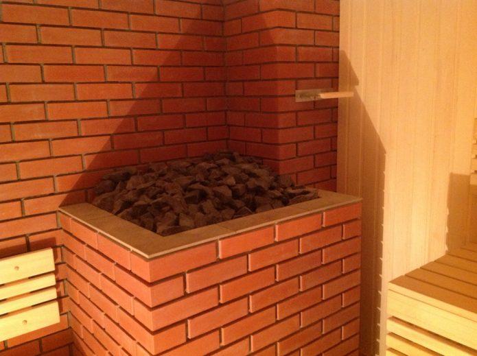 Печь в парилке бани