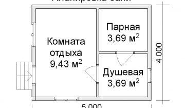 Чертёж парилки в бане 5x4 метра