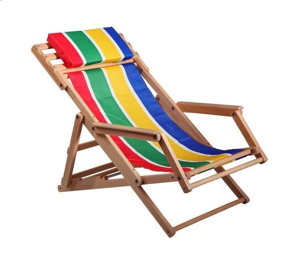 Шезлонг «Пикник», деревянный с тканевым сиденьем